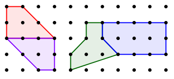 pick's formula: combining polygons